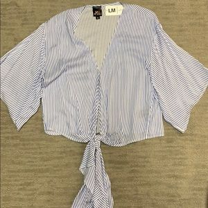 Women's striped tie front top size S new